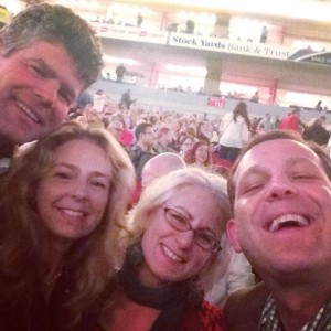 The author at the Billy Joel Louisville concert with some nudnick and two beautiful women